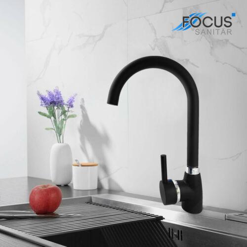 360°Schwarz Küchenarmatur Wasserhahn Ausziehbare Spültischarmatur Mischbatterie