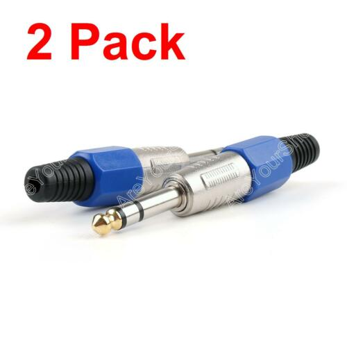 """2 Pack Gold Plated Tip 1//4/"""" 6.35mm Stereo Audio Plug Head Connector Adapter"""
