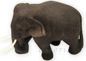 Elephant Figurines Vintage Wood Carved Handmade Natural Animal Lovers Collection
