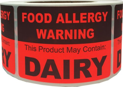 """/""""Warning This Product May Contain DAIRY/"""" Food Allergy Labels 2.5x3.5/"""" 500 Total"""