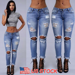 Women High Waisted Ripped Stretchy Slim Skinny Jeans Denim Ladies Jeggings Pants