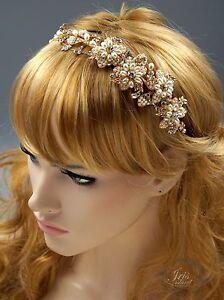 Crystal Pearl Headband Gold Bridal Headpieces Tiara Wedding Accessory 00593