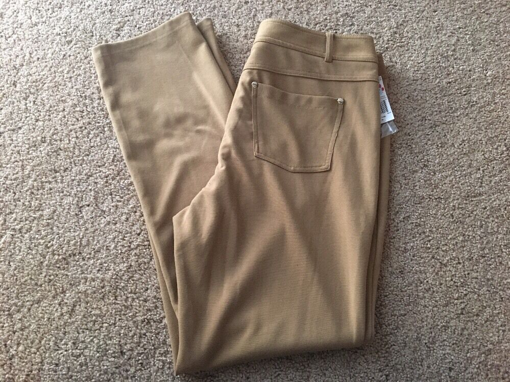 NWT Grace Elements Slim Straight Pants Knit Desert Camel, Size 12