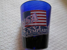 USA 1996 Olympiad Shot Glass - The Atlanta Olympic Games Cobalt Blue