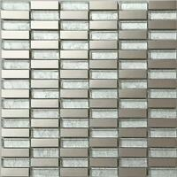 Silver Glass & Brushed Stainless Steel Mosaic Wall Tiles Bathroom Shower MT0103