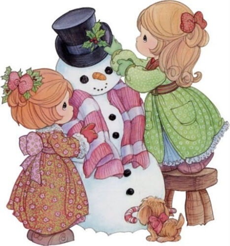 """5/""""-8.5/"""" Precious moments girl snowman wall safe sticker border cut out character"""