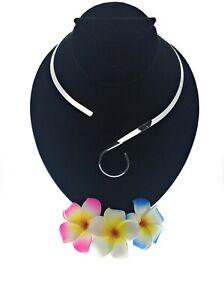 Silver-Choker-Necklace-Collar-S-Hook-Swirl-Loop-5mm-Neck-Wire-CS3