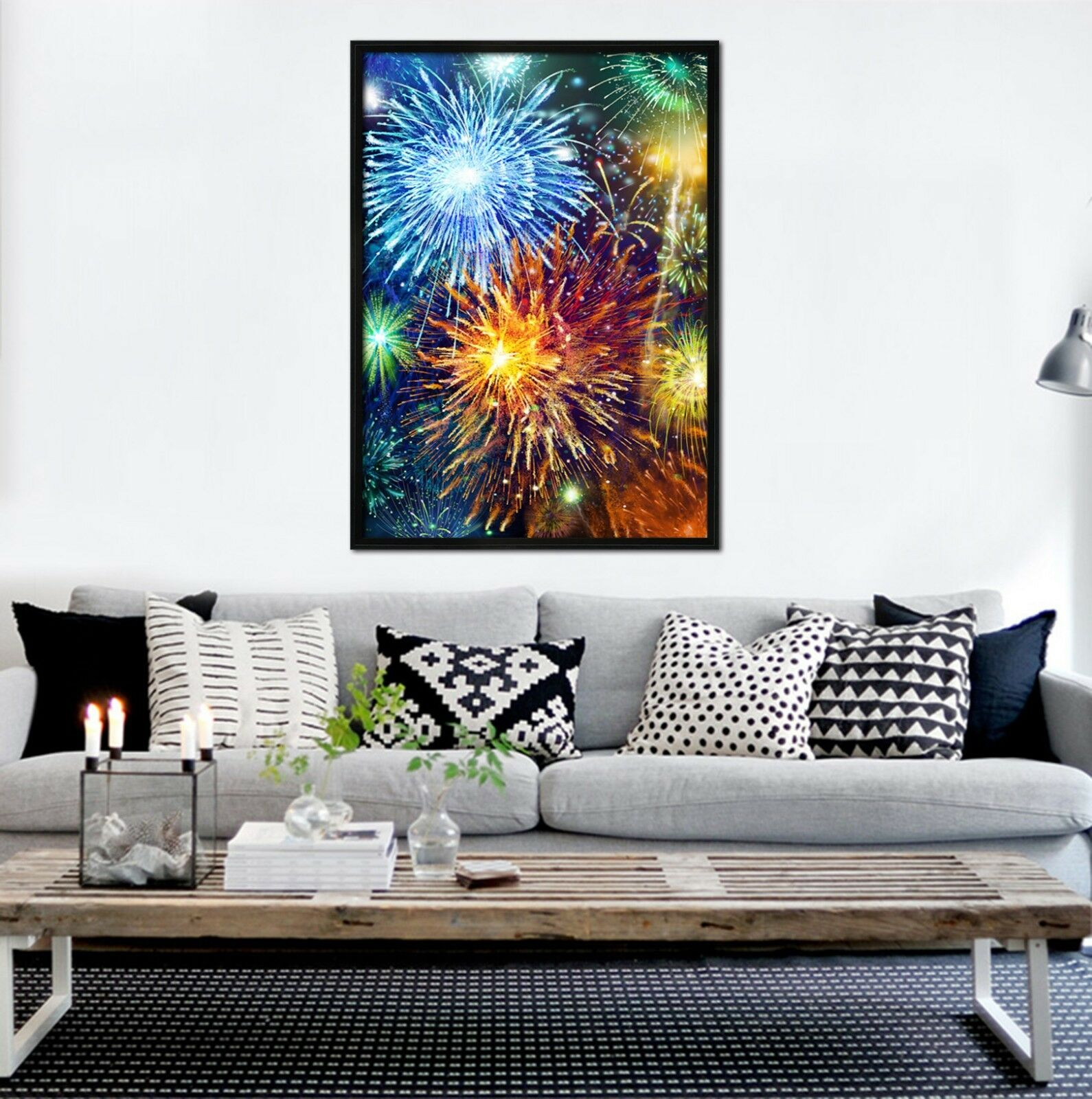 3D Beautiful Fireworks 51 Framed Poster Home Decor Print Painting Art AJ UK