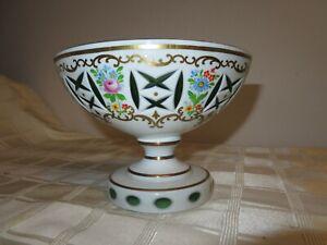 Mid-Century-Modern-Moser-Bohemian-Enameled-Green-Floral-Centerpiece-Bowl
