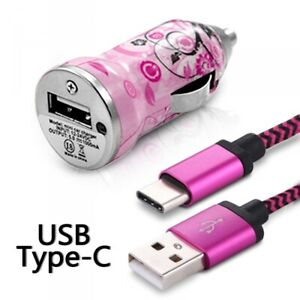 Chargeur-Voiture-Allume-Cigare-Motif-HF17-Cable-USB-Type-C-pour-Huawei-Mate-20-L