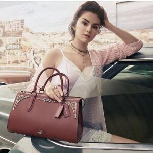 106ae7e6 Details about BNWT COACH Selena Bond Satchel Crystal Embellishment  WINE/GUNMETAL 39289