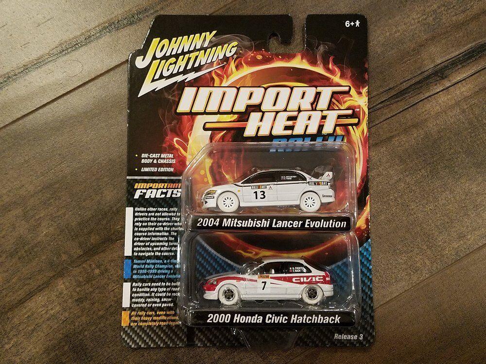Johnny lightning 1 64 2004 mitsubishi lancer 2000 honda civic jlsp061 chase - auto