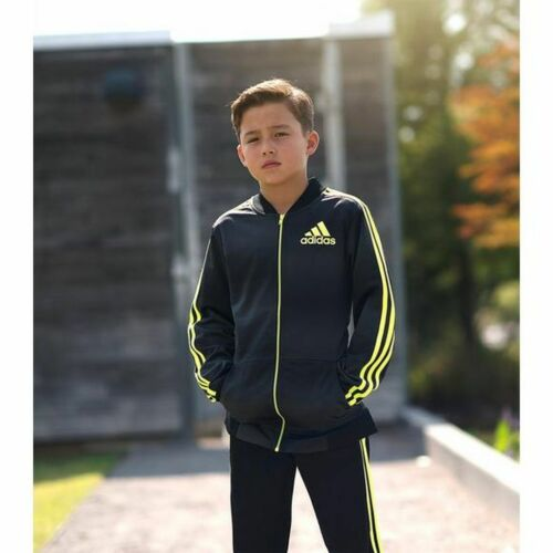 Black//Solar Yellow adidas Big Kids Boys/' Future Flight Full Zip Track Jacket