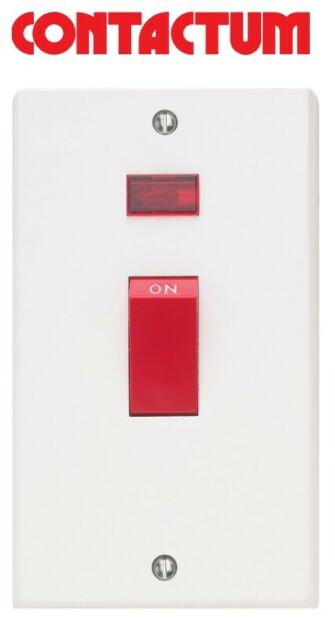 45 amp cooker switch with neon upright white Contactum