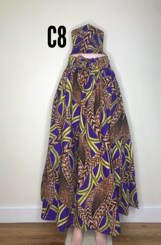 HEAD WRAP Details about  /BRAND NEW Women/'s Printed African Maxi Skirt WITH POCKETS One Size