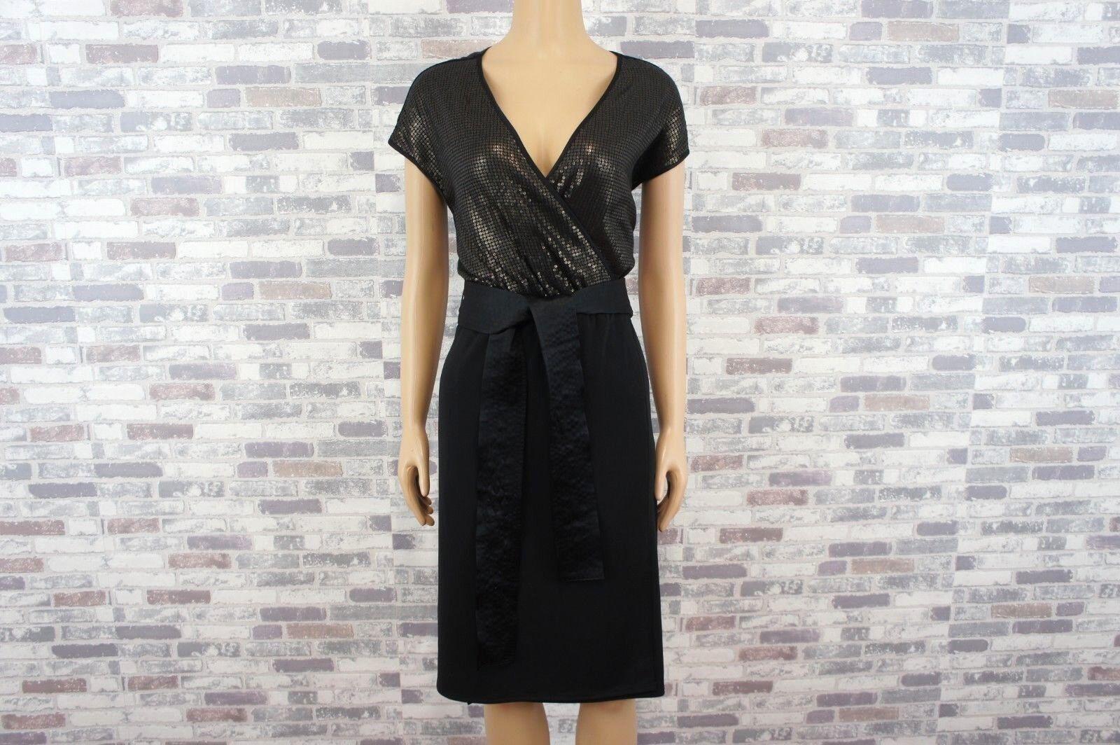 Narciso Rodriquez   Designer Paillettes Stretch Robe noir laiton   L   NEUF