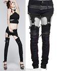 Punk Rave Jeans Hose Hot Pants Gothic Skinny Kunst-Leder Stulpen Steampunk K215