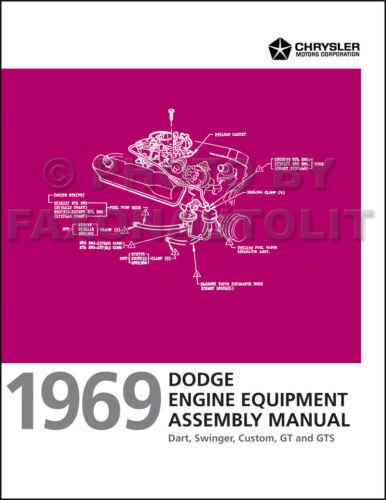 1969 Dodge Dart Engine Assembly Manual Swinger GT GTS 170 225 273 318 340 383
