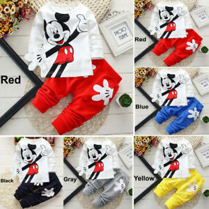 Baby-Kid-Toddler-Boy-Girl-Cartoon-Clothes-Pullover-Top-amp-Pants-Outfit-T-shirt-Set