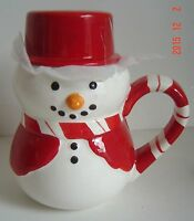 SET Christmas Snowman 4 MUGS Frother Latte MIXER Ceramic Collect Gift RED White
