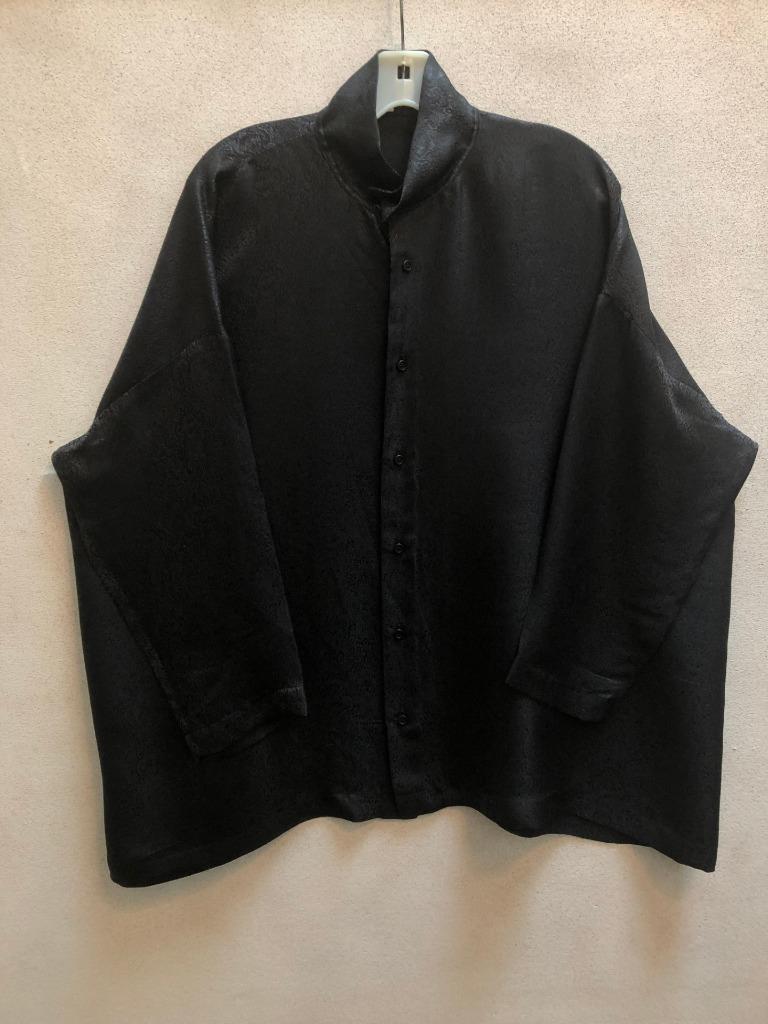 New Eskandar Größe 1 1x 2x schwarz Silk Shirt in Damask Print Silk Blend Shirt
