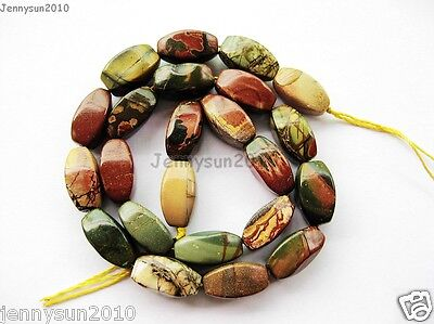 Natural Picasso Jasper Gemstone 9mm x 16mm Freeformed Faceted Barrel Beads 15''