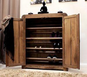 Image Is Loading Shiro Solid Walnut Hallway Furniture Shoe Storage Cupboard
