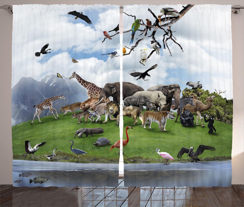 Wildlife Curtains Tropic Animal Animal Animal Collage Window Drapes 2 Panel Set 108x84 Inches e8eee7