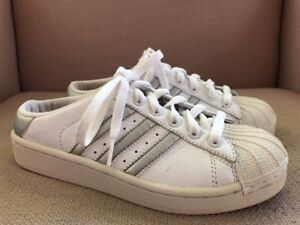 Details about Adidas Superstar Shell Toe White Silver Open Back Leather Kicks Sneaker Size 6.5