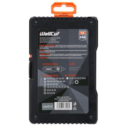 Wellcut 44pcs Soft-grip Ratchet and Screwdriver Bit Set In Case