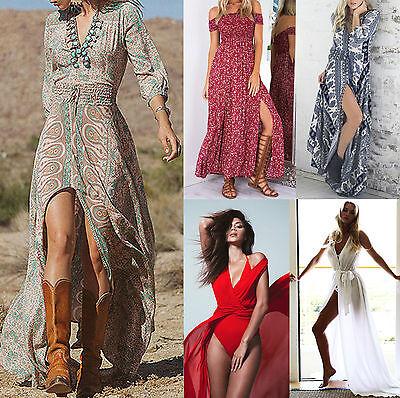 BOHO WOMEN SUMMER HIPPIE FLORAL SKIRT LADIES PARTY EVENING BEACH LONG MAXI DRESS