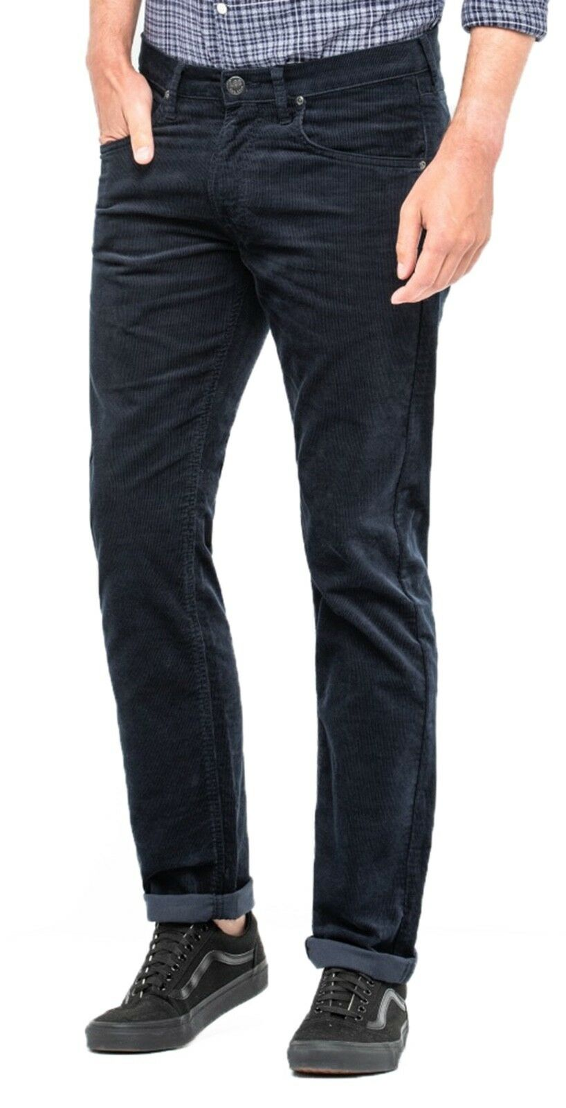Lee  Daren Zip Regular Fit Slim cables de Marina oscuro Stretch Jeans Pantalones De Pana  bienvenido a orden