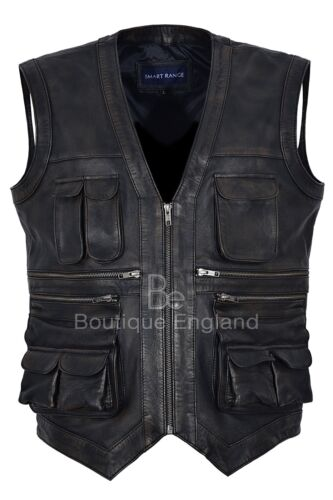 100 Real Leather Pratt Coat Chris Waist Jurassic World Vest Black Men's Rub Off xgBq1wn