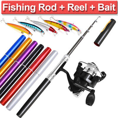 Mini Portable Telescopic Pocket Fish Aluminum Pen Fishing Rod Pole Reel Outdoor | eBay