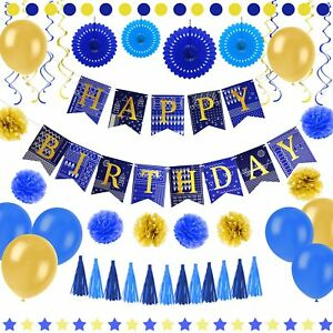 Image Is Loading 55 Pcs Blue And Gold Birthday Party Decorations