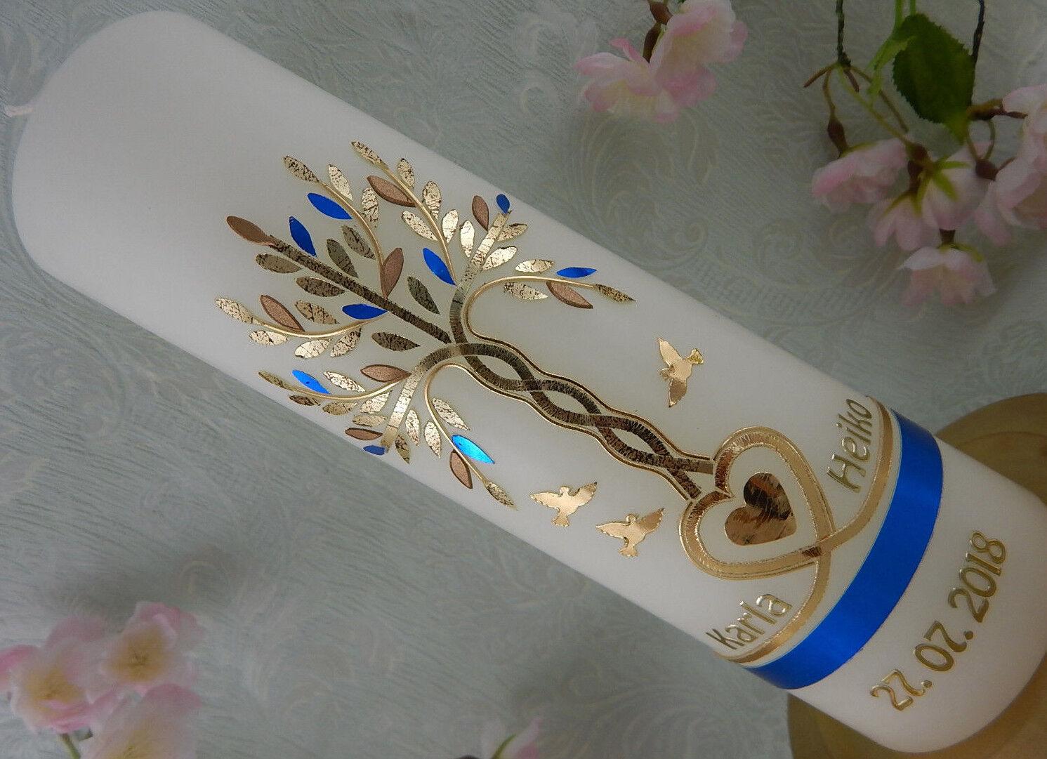 Hochzeitskerze Traukerze Lebensbaum blau Gold Herz Taube Ringe mit Beschriftung