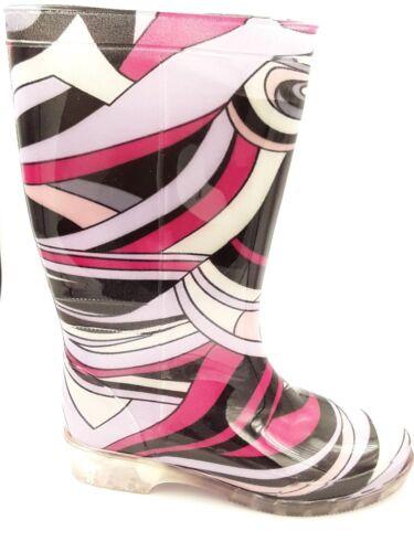 Ladies Wave Print Pink /& Black Fashion Wellington Boots UK Size 3