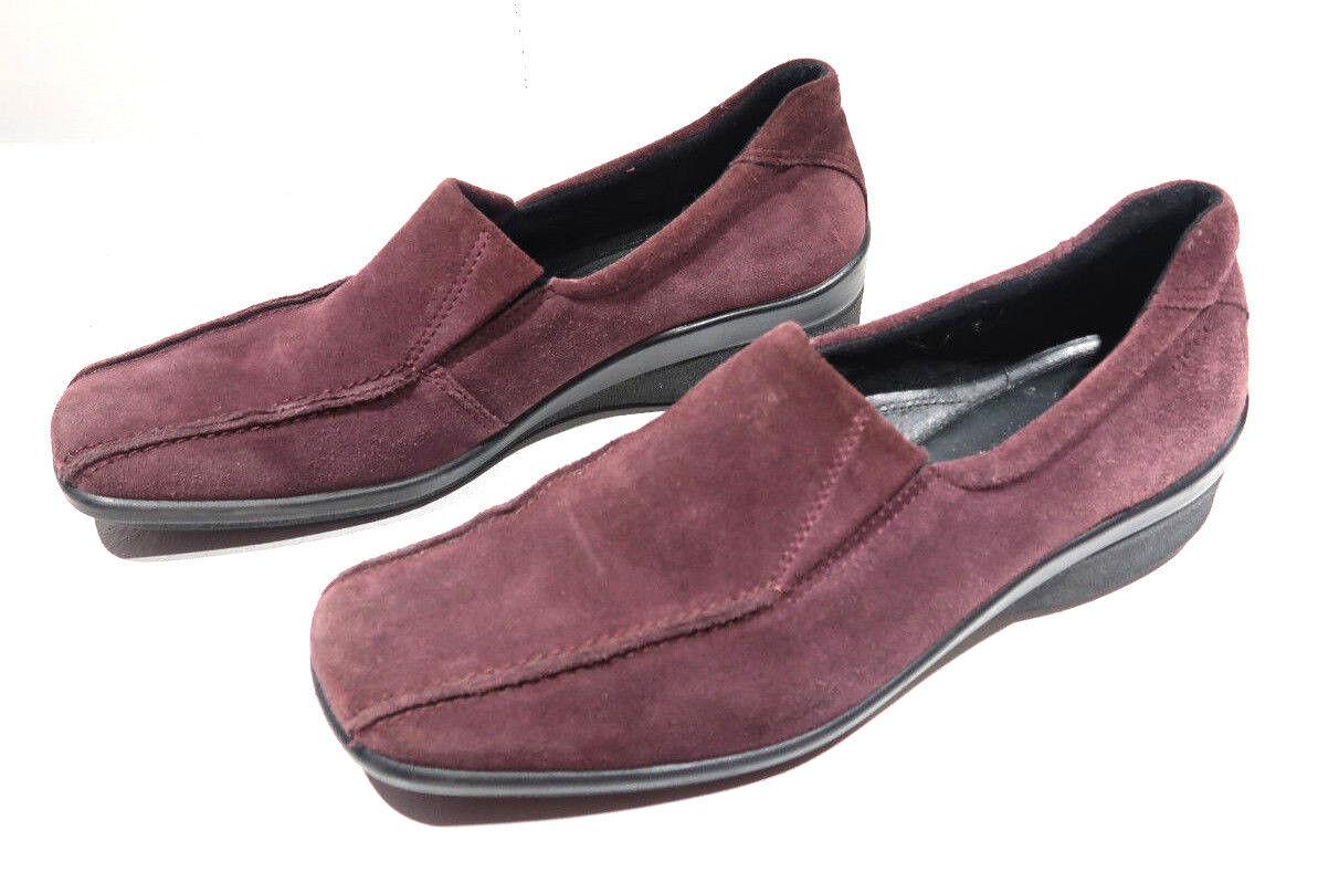 ECCO shoes Purple Suede Slip Ons Wedge Ecco Light Soles Size 41 10-10.5