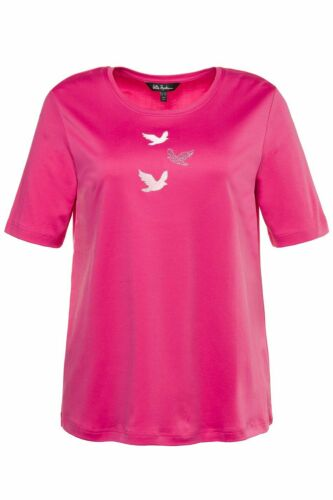 ULLA POPKEN Shirt Pima Cotton mit Vogel-Stickerei CLASSIC pink NEU