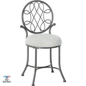 Details about Vanity Chair Round Stool Puffy Seat Dining Bench Oval Back  Chairs Bedroom NEW