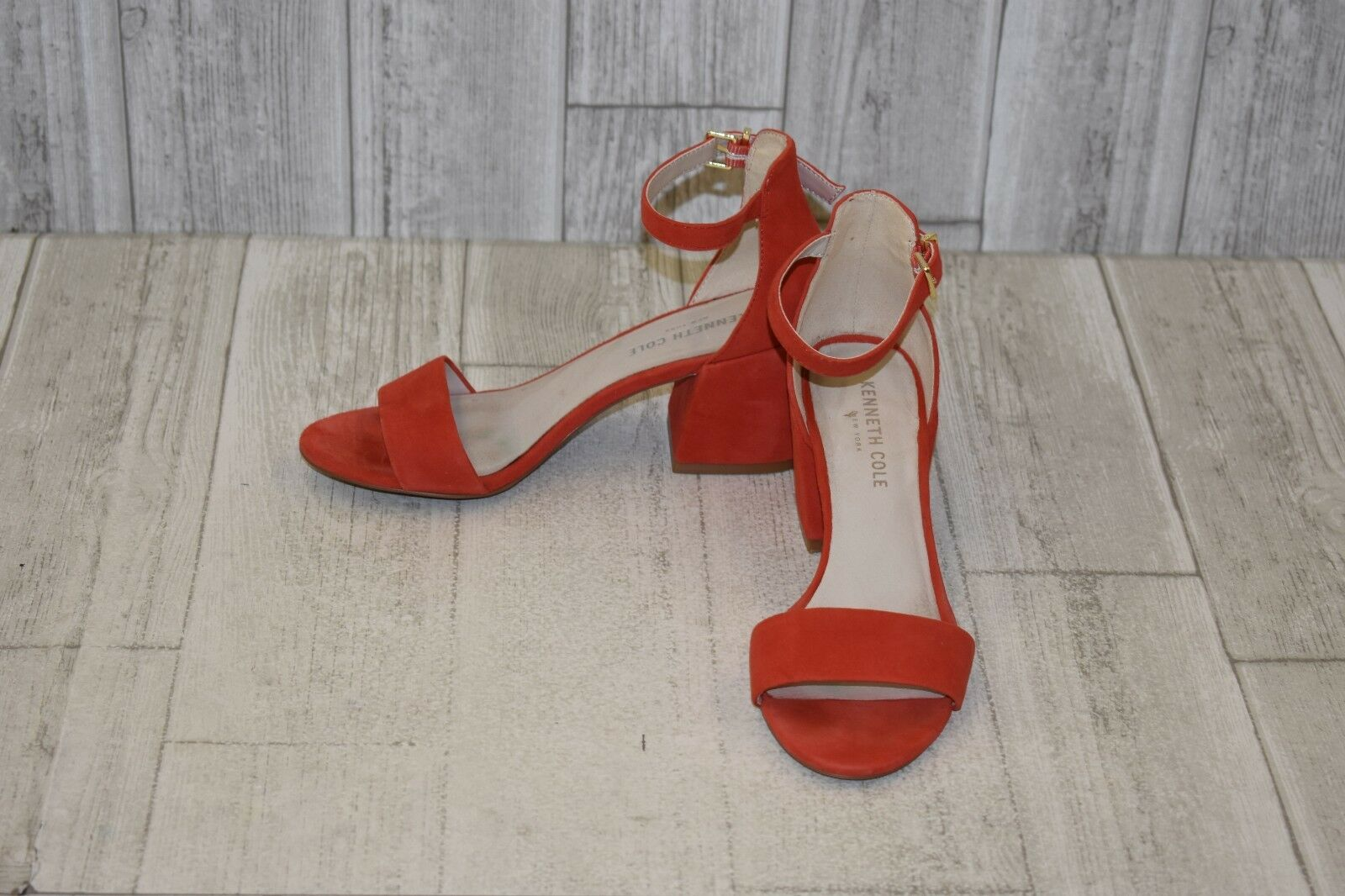 Kenneth Cole Hannon Suede Block Heel Sandals, Women's Size 6.5M, Persimmon