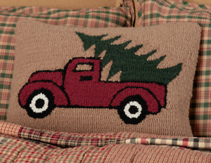 HOOKED-TRUCK-Pillow-Farmhouse-Red-Pickup-Christmas-Tree-Holiday-VHC-Brands