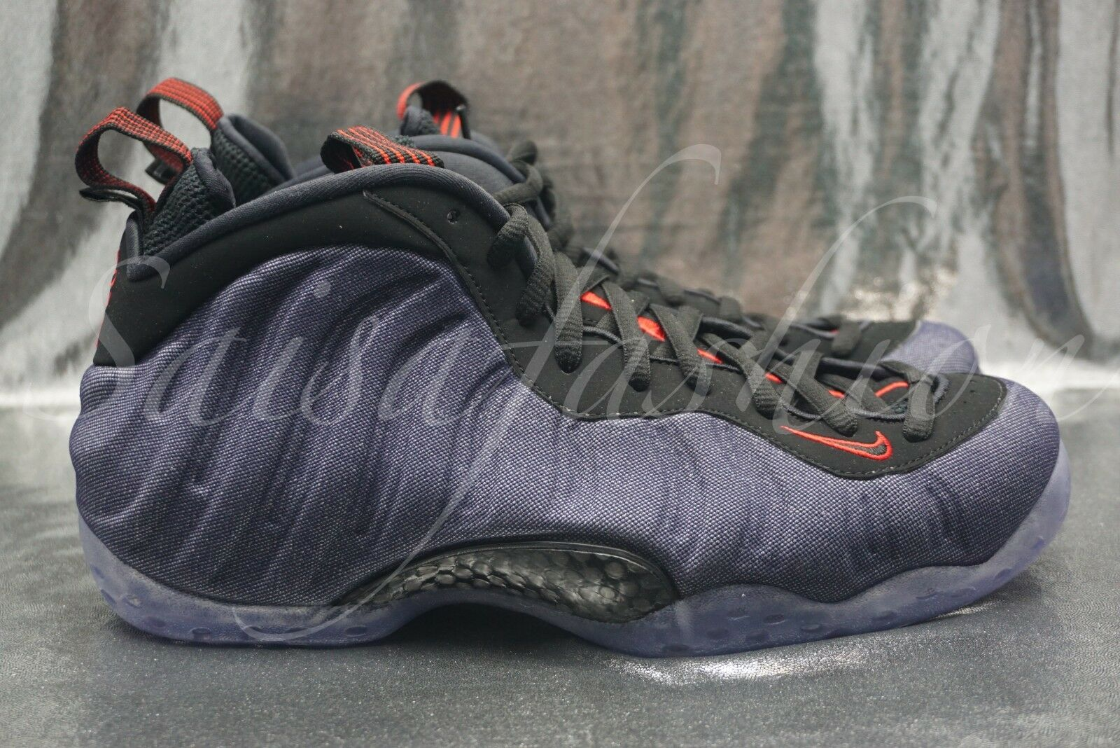 57b5358927f Nike Air Foamposite One Denim Mens 314996-404 Obsidian Black Red ...