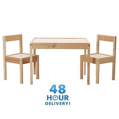 Porta Cd Ikea Legno.Ikea Latt Bambini Tavolo Con 2 Sedie In Legno In Pino Legno Bambini Set Mobili Nuovo Ebay
