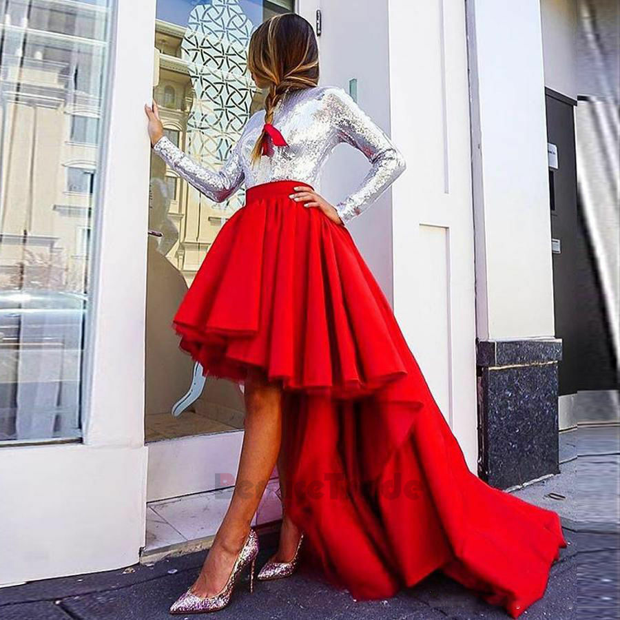 Elegant Red High Low Women Skirts Maxi Long Evening Party Prom Celebrity Skirt