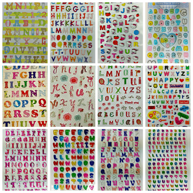 Colourful Puffy A-Z Alphabet letter stickers / Stationery / 21 Styles