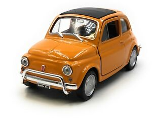 Model-Car-Fiat-Nuova-500-1957-1975-Oldtimer-Orange-Car-1-3-4-39-Licensed