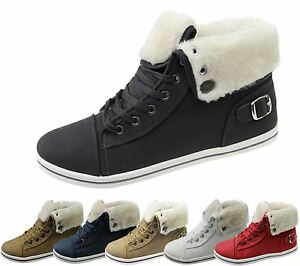 Girls-Boots-Womens-Warm-Lined-High-Top-Ankle-Trainer-Ladies-Winter-Shoes-Size