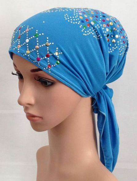 New Style Multicolor Sequins Bandage Muslim Inner Hijab Caps Islamic Scarf Hats