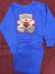 53a59914b3 Vintage SEARS Toddler 2 Pc Sleepwear FUZZY TEDDY BEAR Sleeper 3T ...